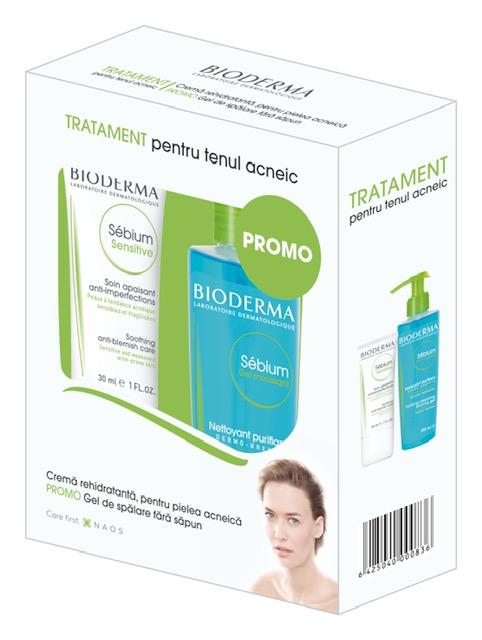 Fluid calmant și hidratant pentru pielea acneică Sebium Sensitive, 30 ml + Gel spumant Sebium, 200 ml, Bioderma