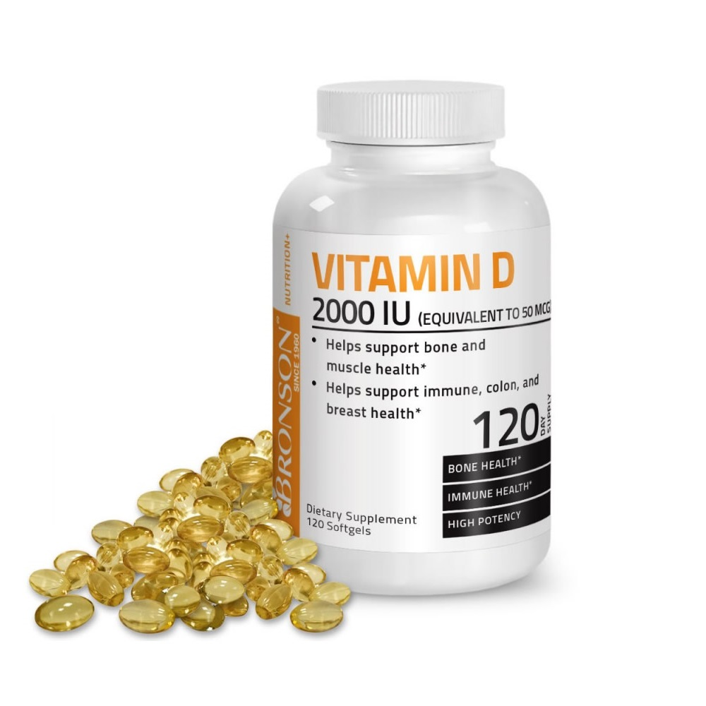 Vitamina D3 2000 UI, 120 capsule, Bronson Laboratories