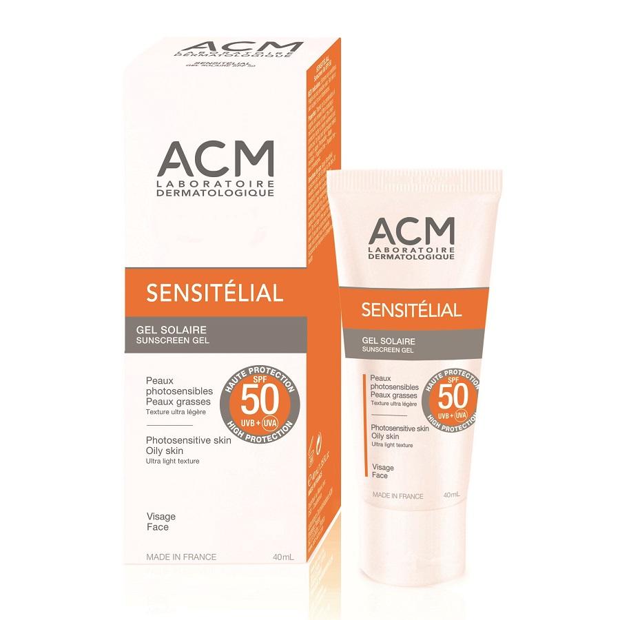 Gel pentru protecție solară SPF 50 Sensitelial, 40 ml, Acm