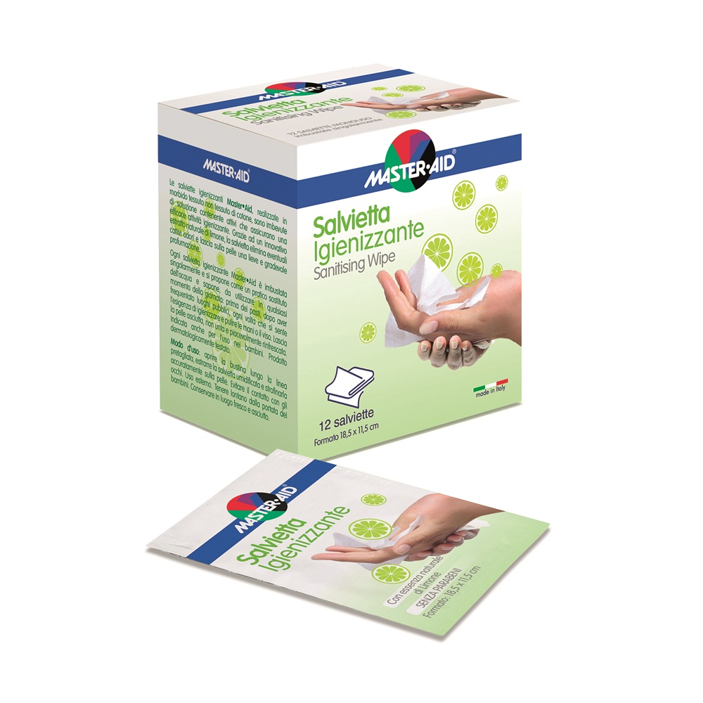 Servetele igienizante Master-Aid, 12 buc ambalate individiual, Pietrasanta Pharma