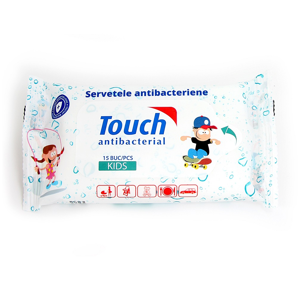 Servetele umede antibacteriene Kids, 15 bucati, Touch
