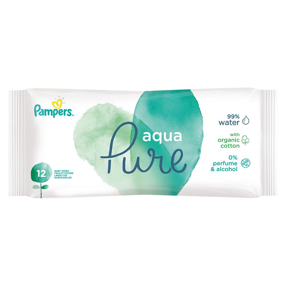 Șervețele umede Aqua Pure, 12 bucăți, Pampers