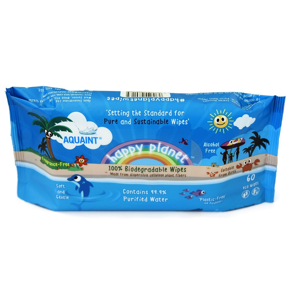 Servetele umede biodegradabile Aquaint Happy Planet, 60 bucati, Opus Innovations