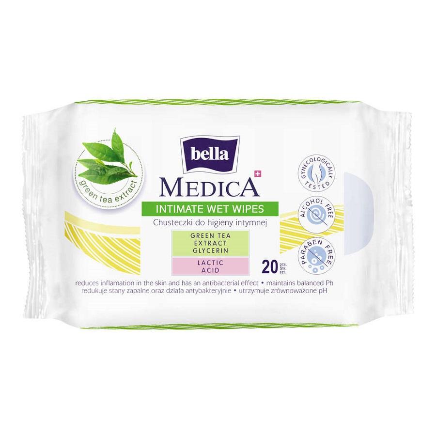 Șervetele umede pentru igiena intima Bella Medica, 20 bucăți, Tzmo Sa