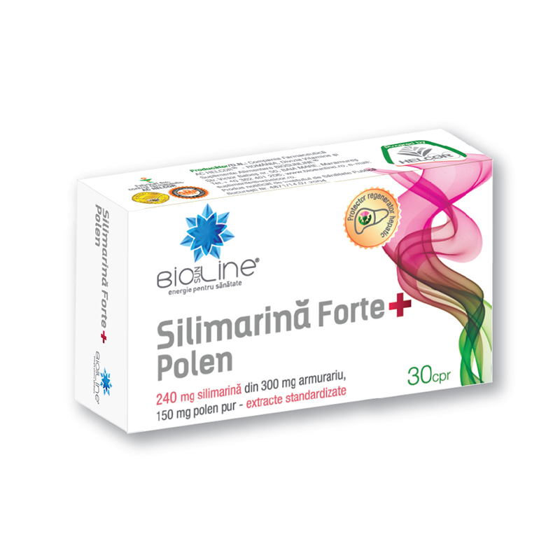 Silimarină Forte + Polen, 30 tablete, Helcor