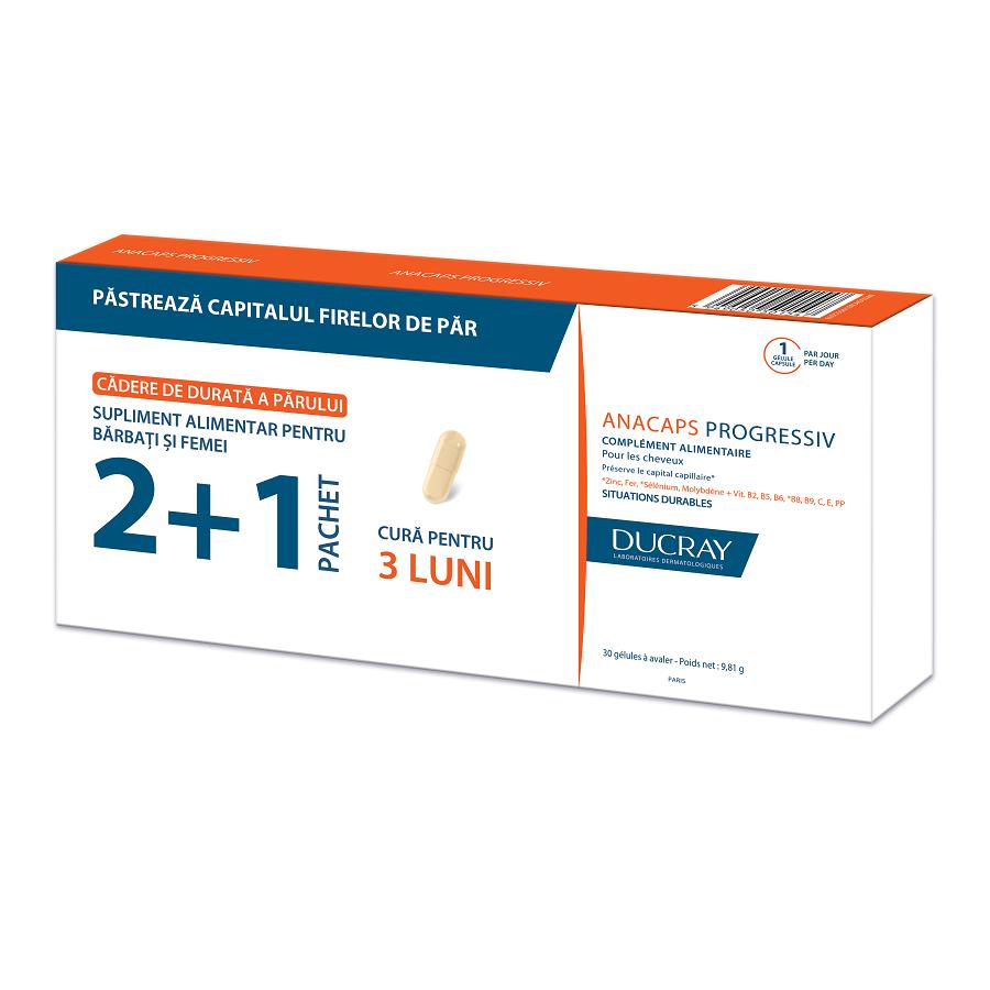 Pachet Supliment pentru păr Anacaps Progressiv, 30 capsule, Ducray (2+1)
