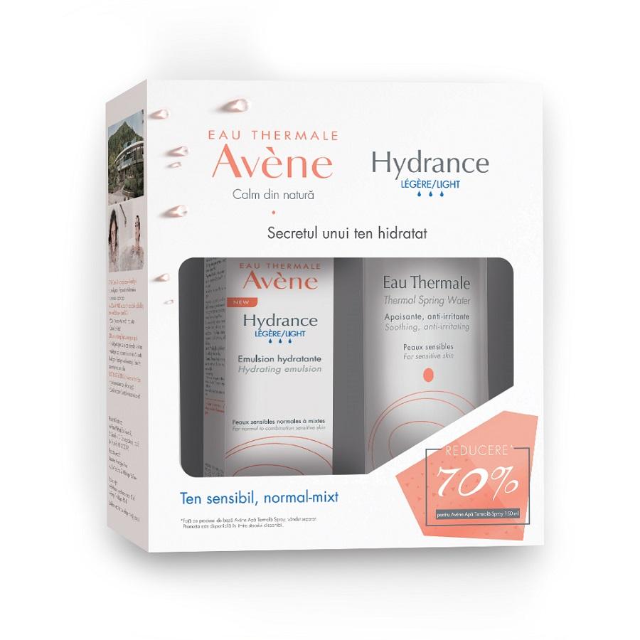 Pachet Emulsie pentru piele sensibilă Avene Hydrance Legere, 40 ml + Apă termală spray Avene, 150 ml, Pierre Fabre