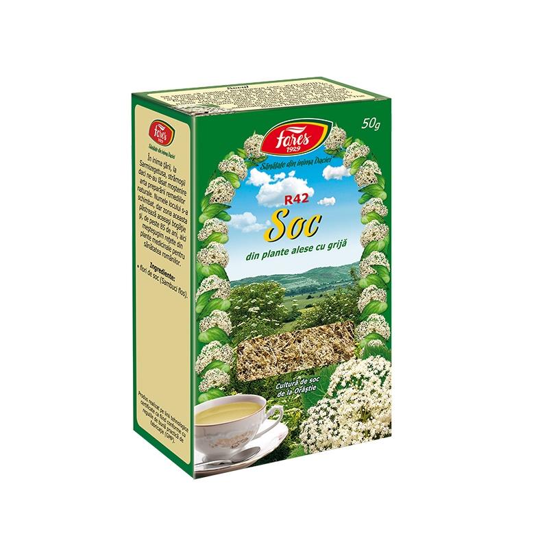 Ceai soc flori, R42, 50 g, Fares