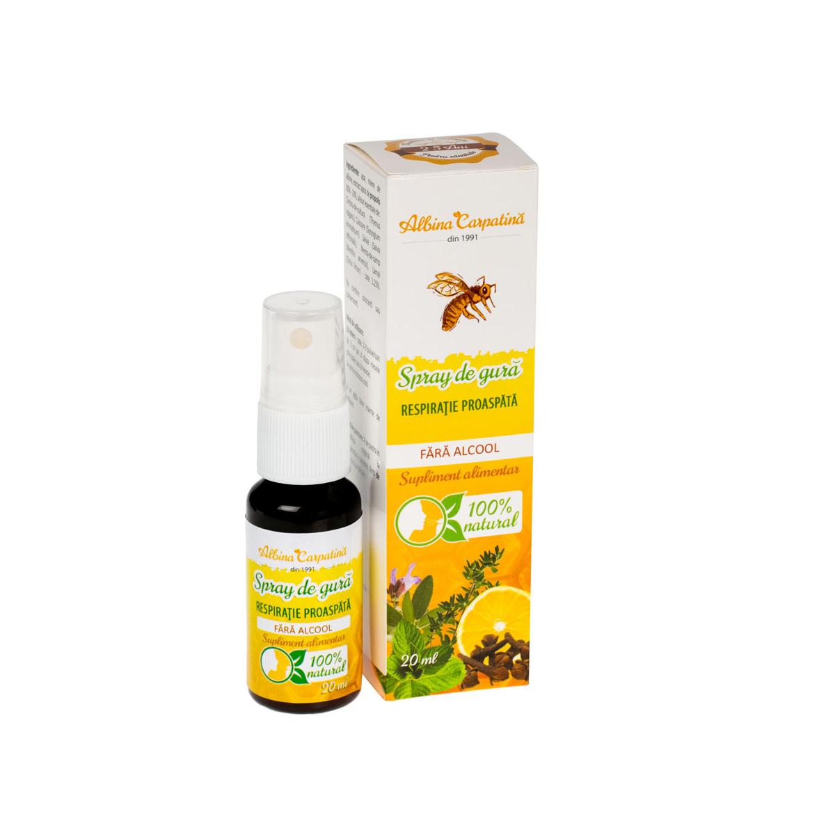 Spray de gură respirație proaspătă Albina Carpatină, 20 ml, Apicola Pastoral