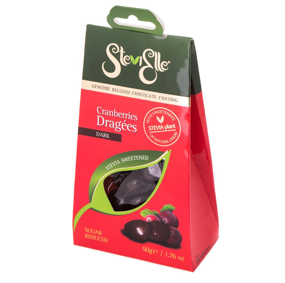 Drajeuri de merișor învelite în ciocolată belgiană neagră Stevielle, 50 g, Hermes Natural