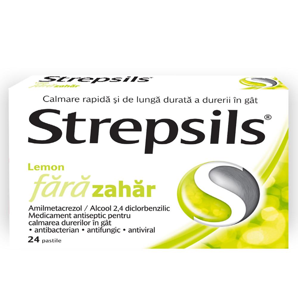 Strepsils Lemon fără zahăr, 24 pastile, Reckitt Benckiser Healthcare