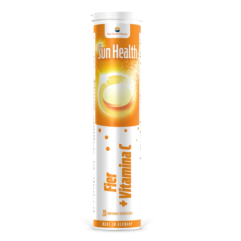 Fier + Vitamina C Sun Health, 20 comprimate efervescente, Sun Wave Pharma