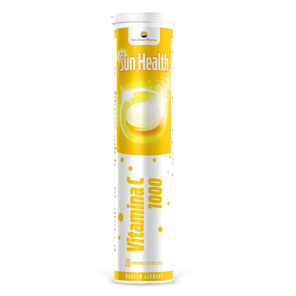 Vitamina C 1000mg Sun Health, 20 comprimate efervescente, Sun Wave Pharma