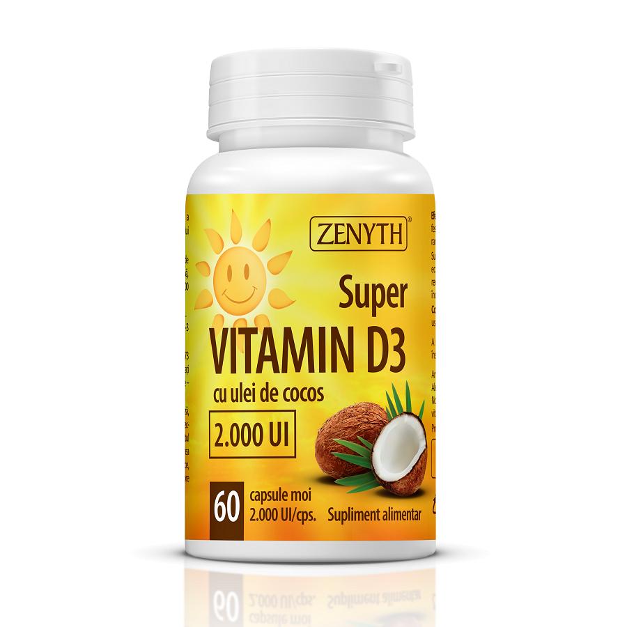 Super vitamina D3 cu ulei de cocos 2.000 UI, 60 capsule, Zenyth