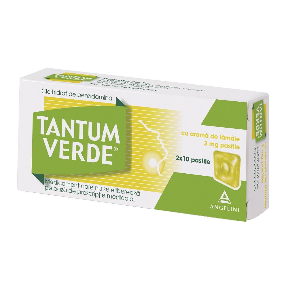 Tantum Verde cu aromă de lămâie, 20 dropsuri, Csc Pharmaceuticals