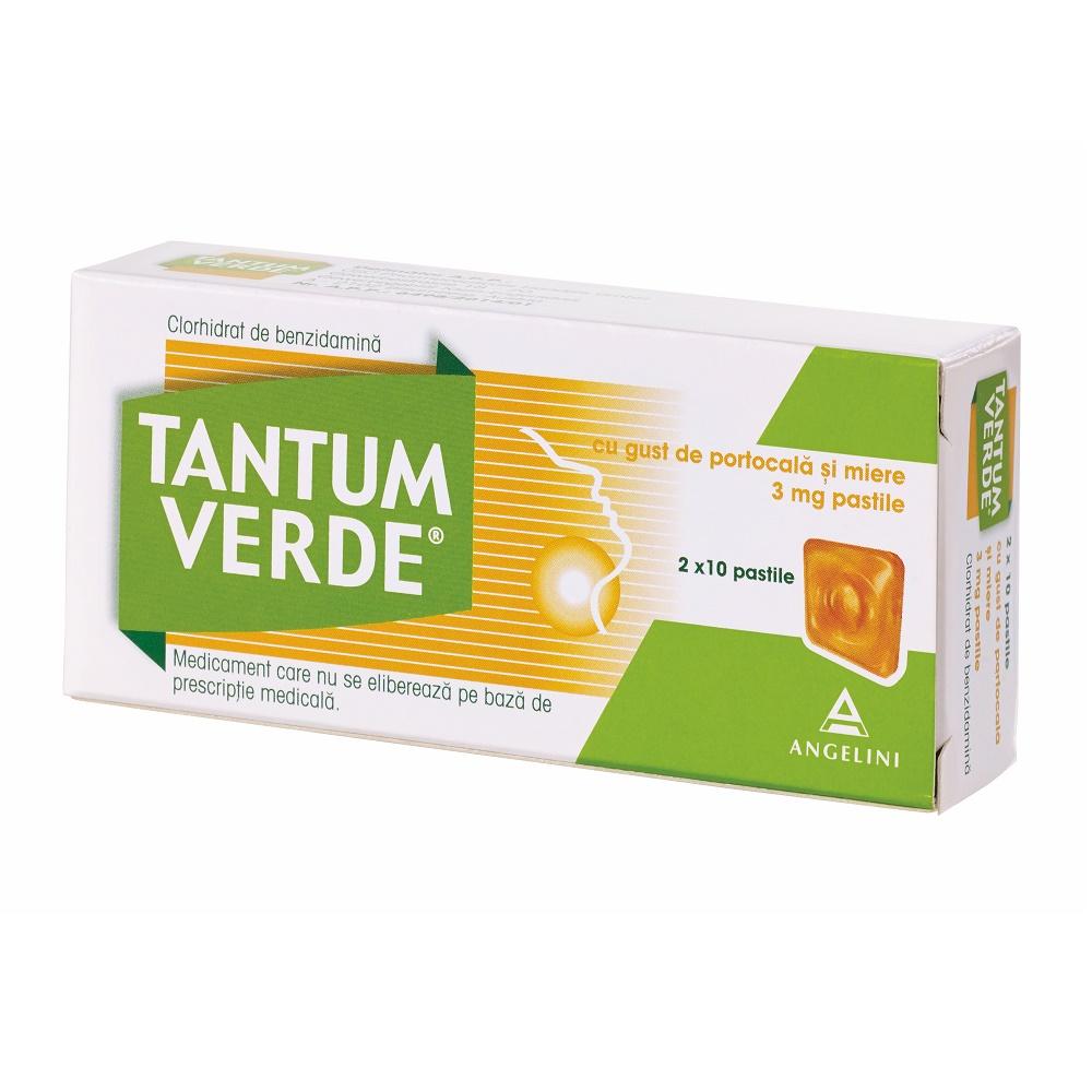 Tantum Verde cu aromă de portocale și miere, 20 dropsuri, Csc Pharmaceuticals