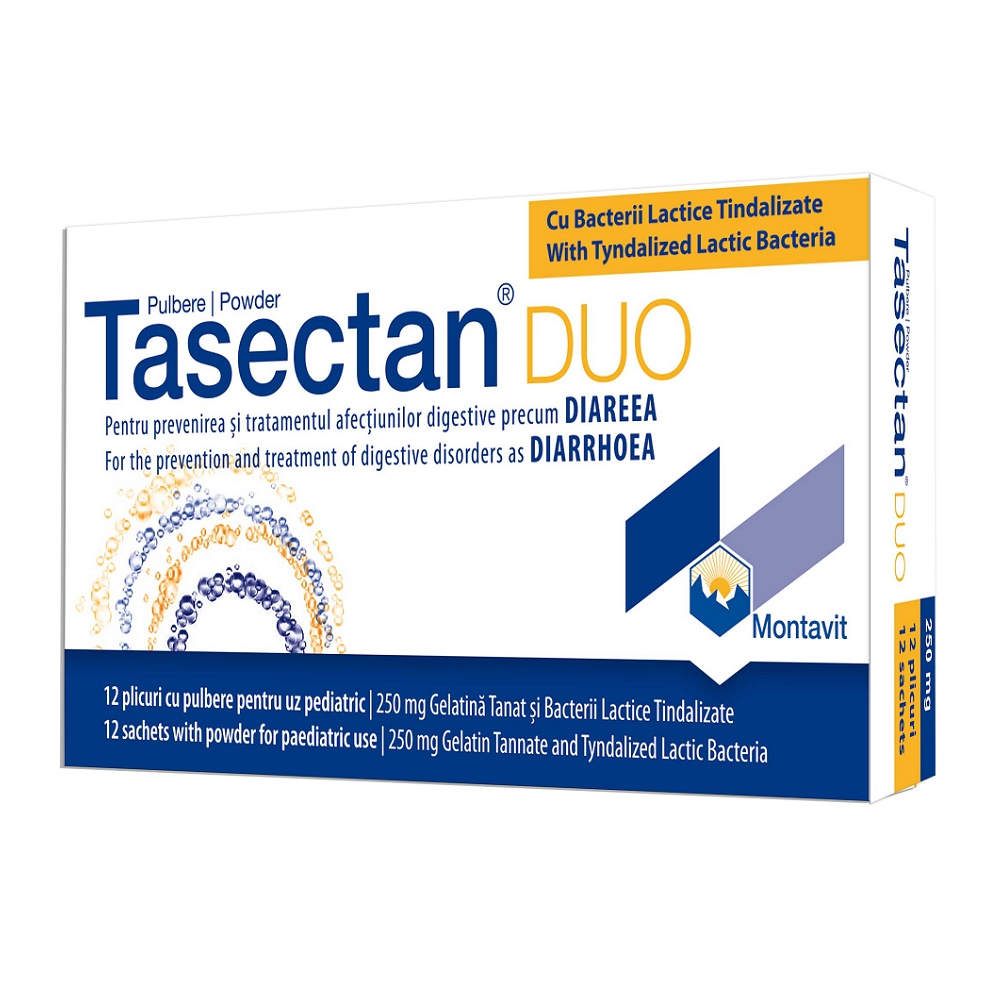 Tasectan DUO copii 250 mg, 12 plicuri, Montavit