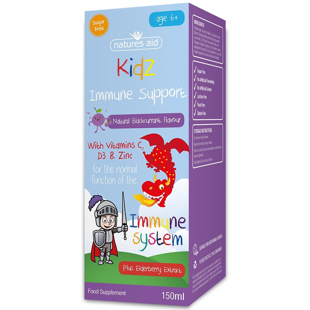 Kidz Immune Support cu vitamina C, D3 și zinc, 150 ml, Natures Aid