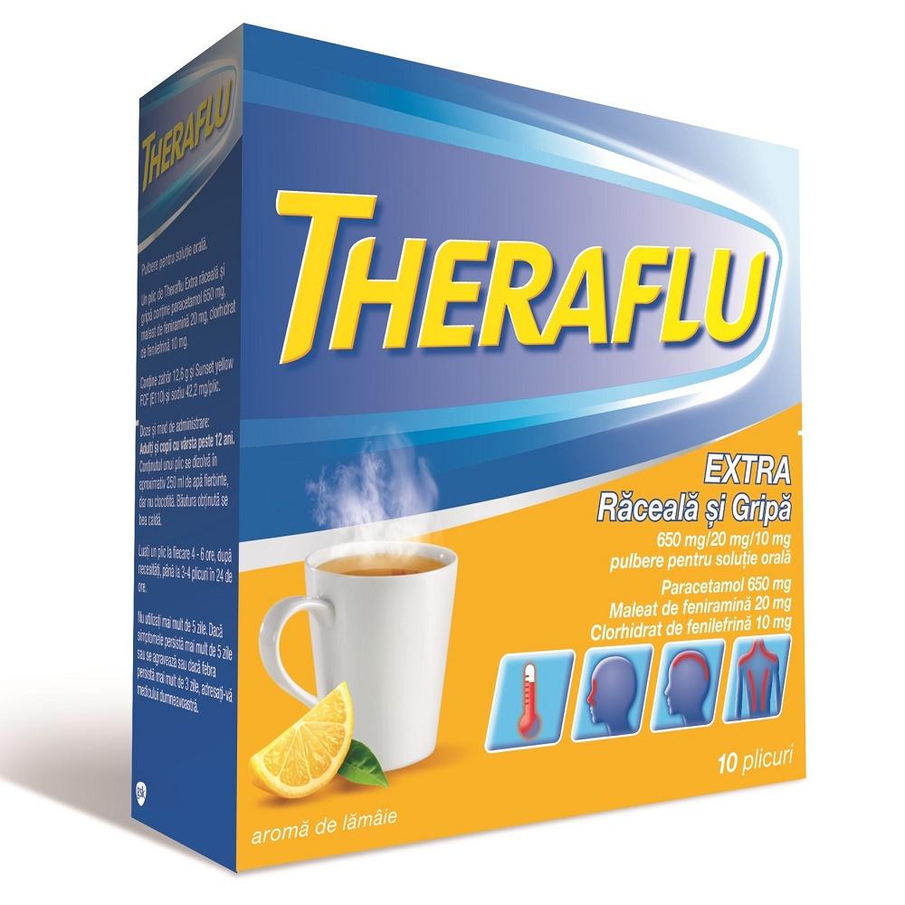 Theraflu Extra raceala si gripa, 10 plicuri, Gsk
