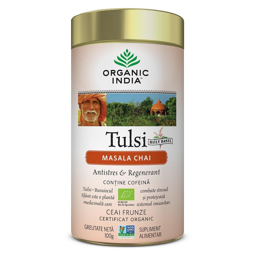 Tulsi Masala Chai, Relaxant si Regenerant, 100g, Organic India
