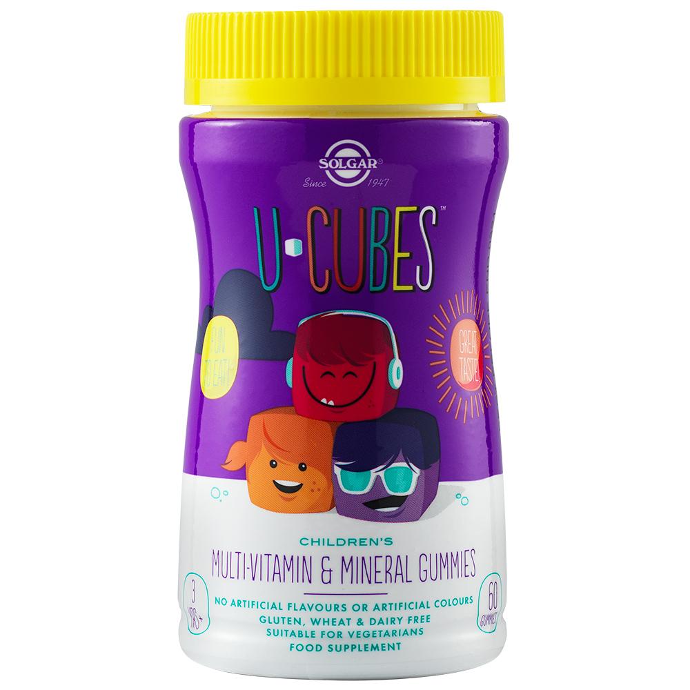 U-Cubes Multivitamine & Minerale pentru copii, 60 jeleuri, Solgar
