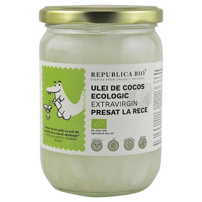 Ulei de cocos extravirgin, presat la rece, 500 ml, Republica Bio
