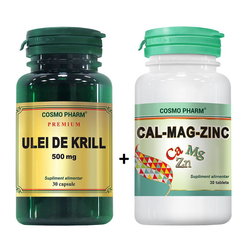 Pachet Ulei de krill 500mg, 30 capsule + Cal Mag Zinc, 30 tablete, Cosmopharm