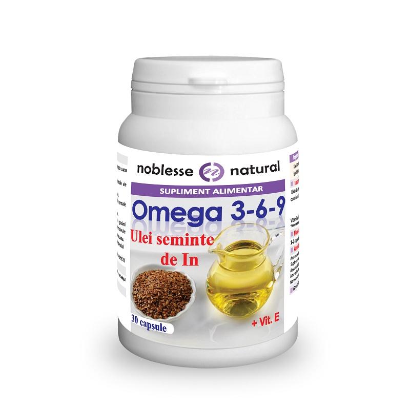Omega 3-6-9 Ulei din semințe de în 500 mg și Vitamina E, 30 capsule, Noblesse