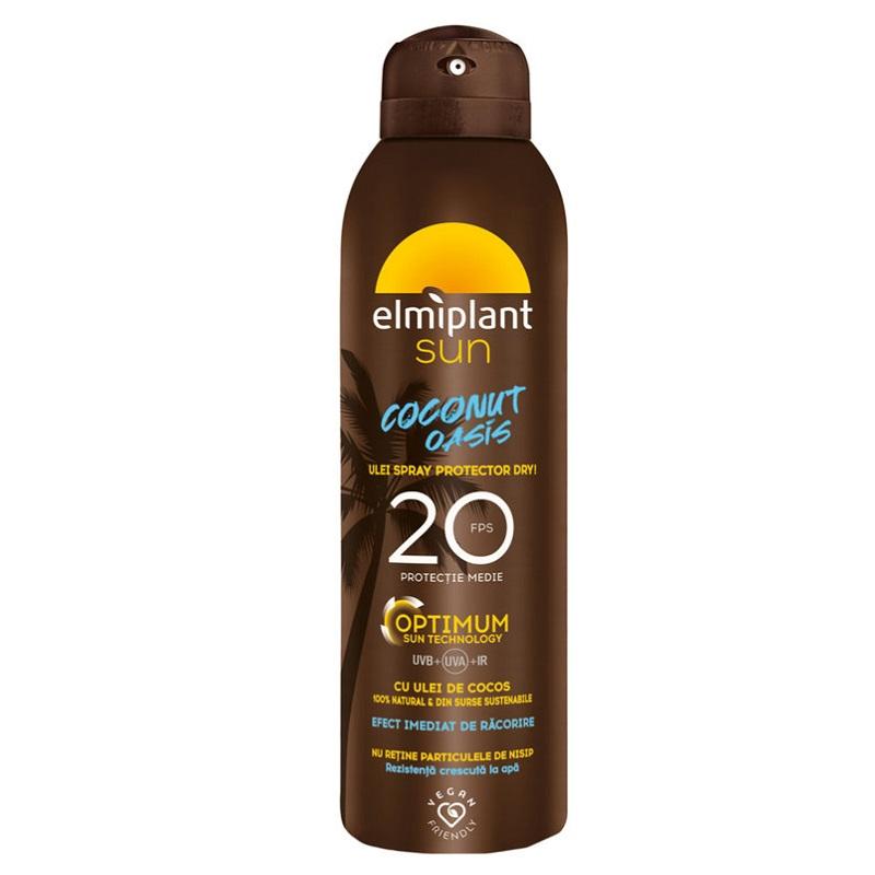 Ulei spray protector Coconut Oasis Optimum SPF 20, 150 ml, Elmiplant