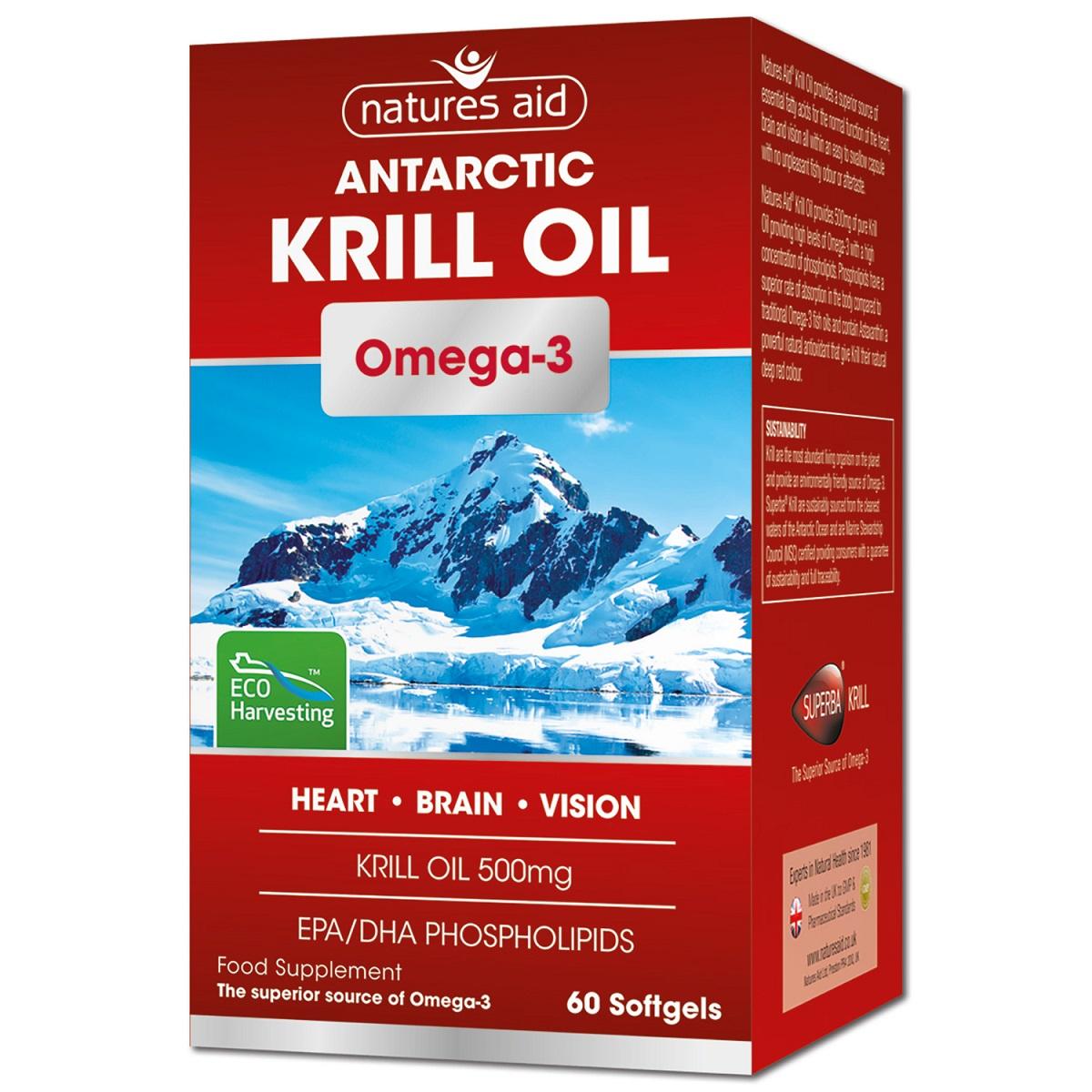 Ulei de krill, 60 capsule, Natures Aid