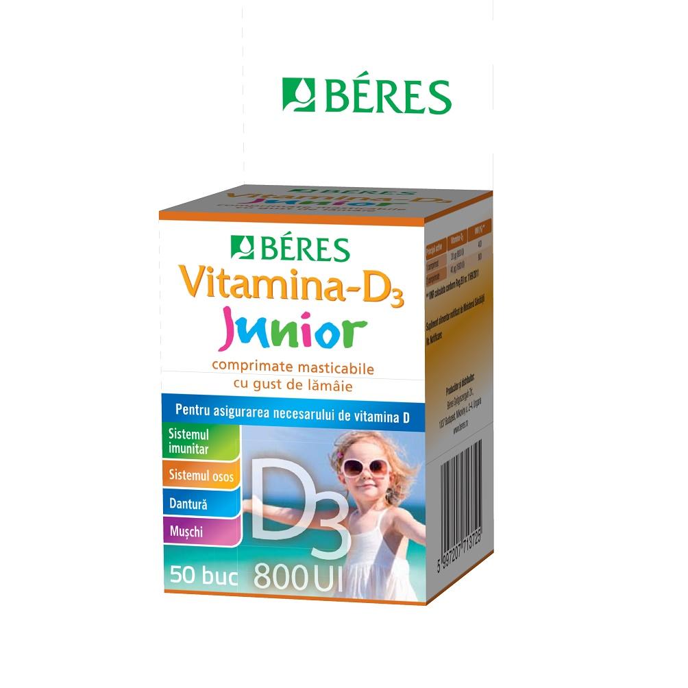 Vitamină-D3 Junior 800 UI, 50 comprimate masticabile, Beres
