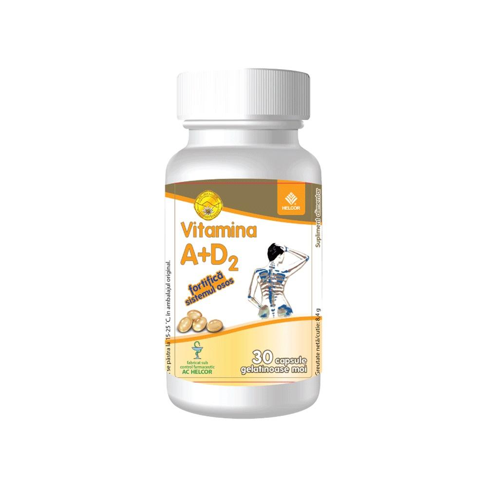 Vitamina A + D2, 30 capsule gelatinoase, Helcor