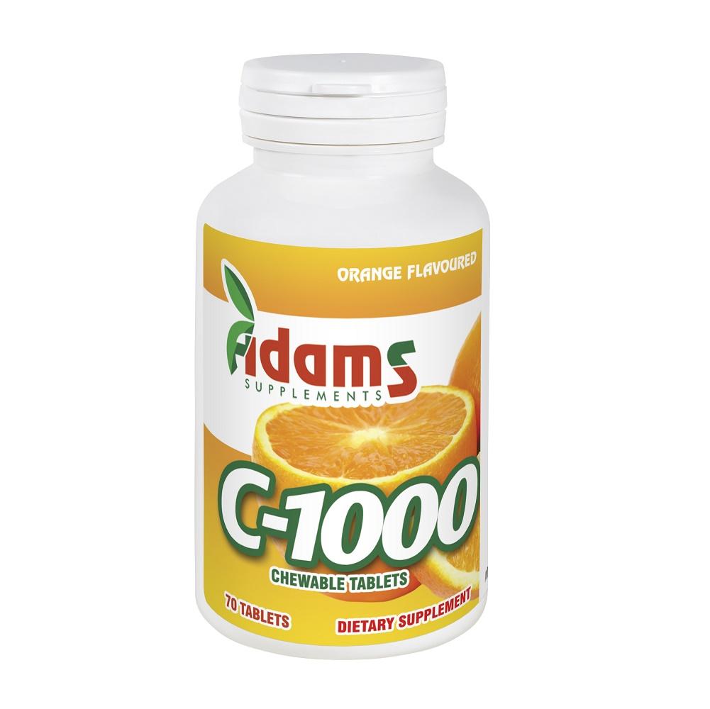Vitamina C-1000, 70 tablete masticabile, Adams Vision