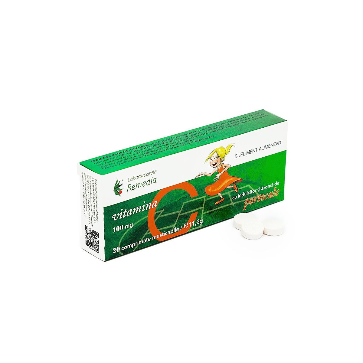 Vitamina C 100mg aromă de portocale, 20 comprimate, Remedia
