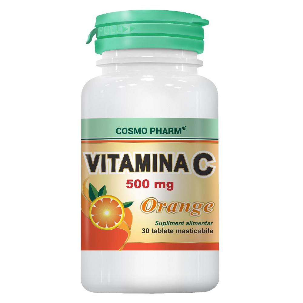 Vitamina C 500mg Orange, 30 tablete masticabile, Cosmopharm
