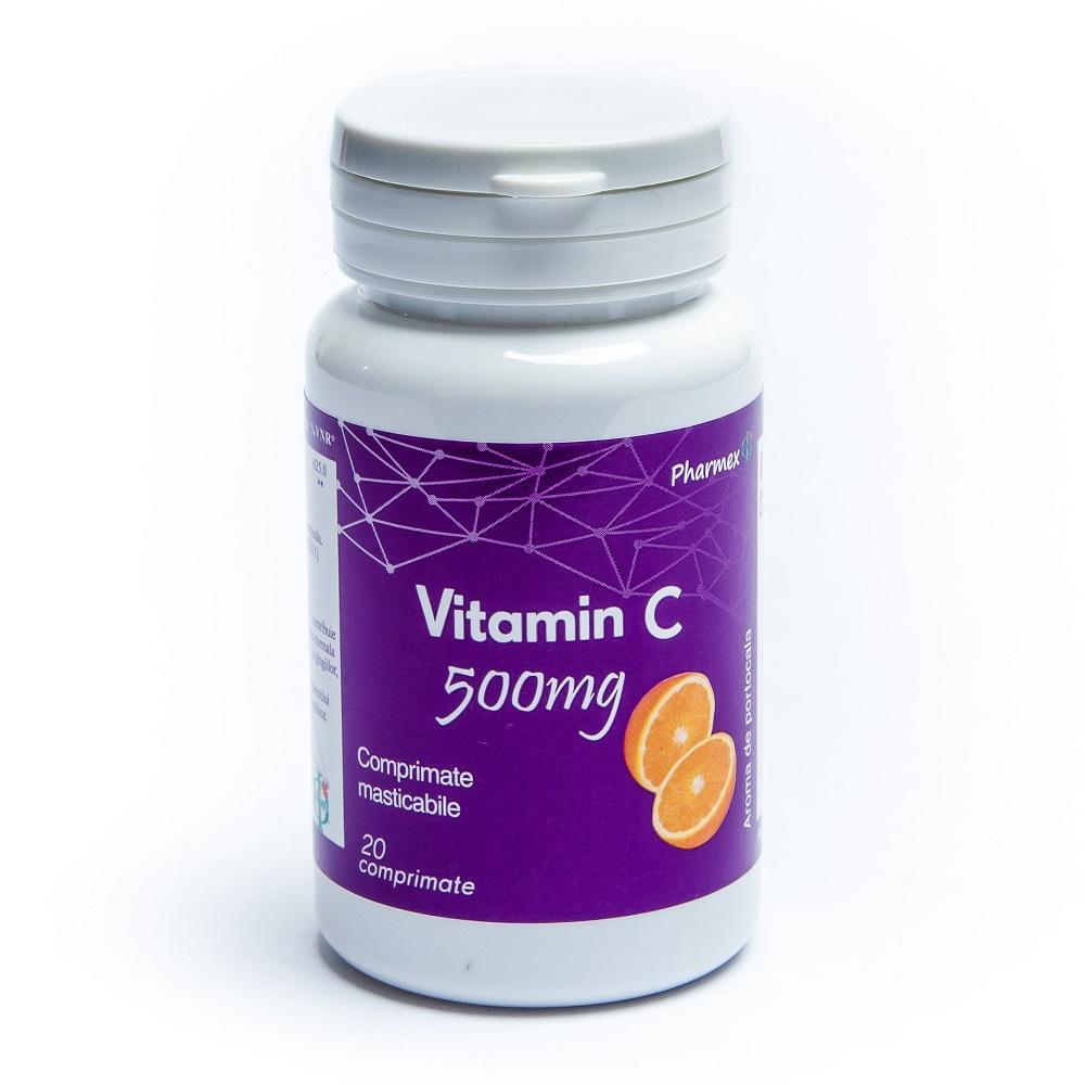 Vitamina C cu aroma de Portocale, 500 mg, 20 comprimate, Pharmex