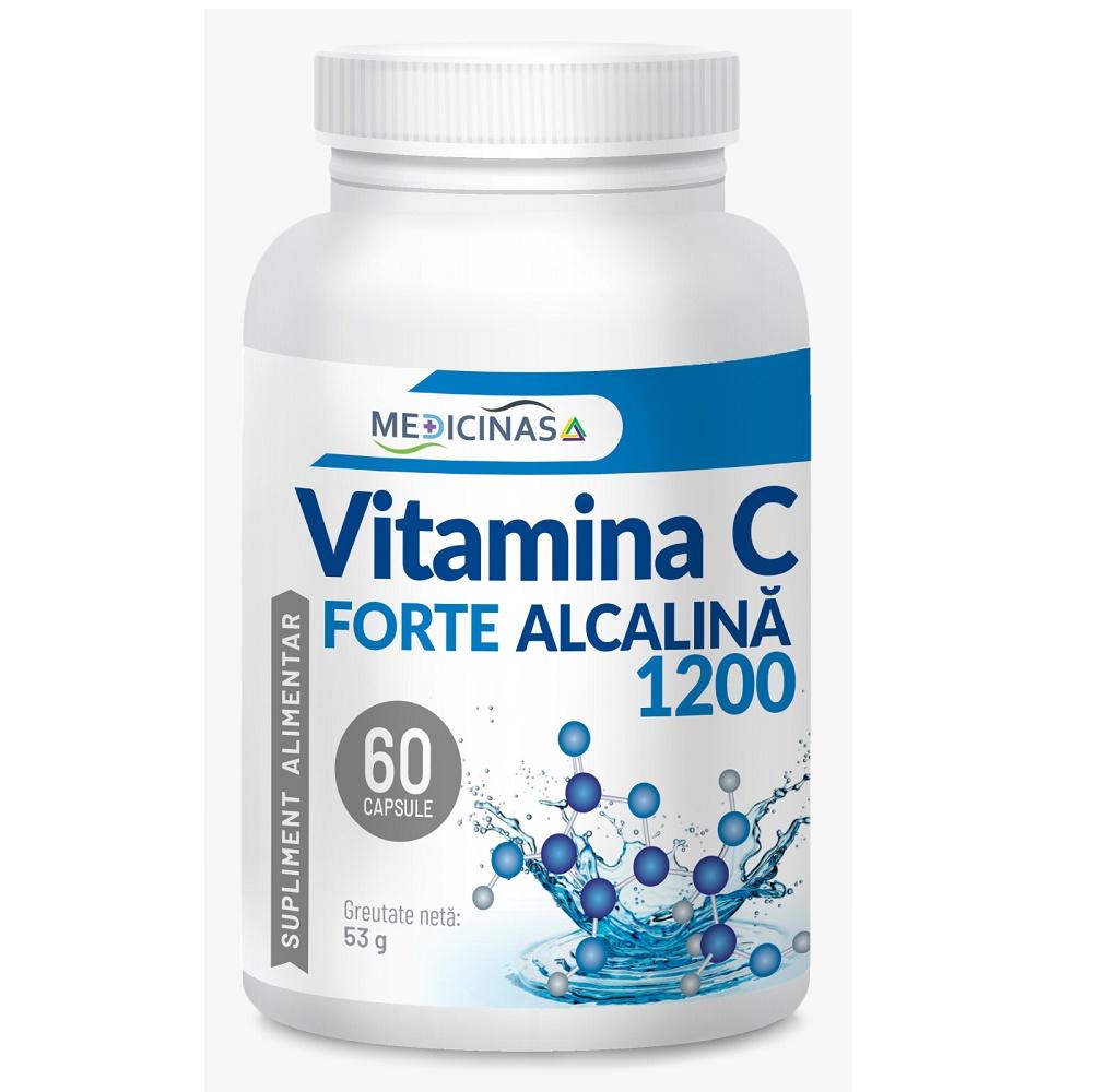 Vitamina C Forte alcalina 1200, 60 capsule vegetale, Medicinas