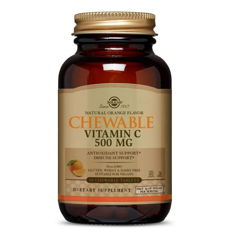 Vitamina C masticabil cu aromă de portocală 500 mg, 90 tablete, Solgar