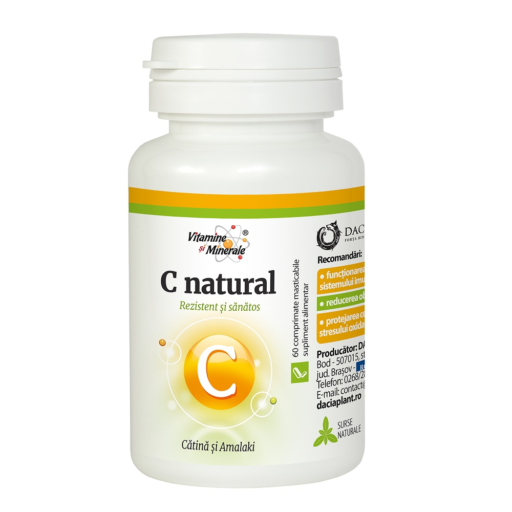 Vitamina C natural cu catină și amalaki, 60 comprimate masticabile, Dacia Plant
