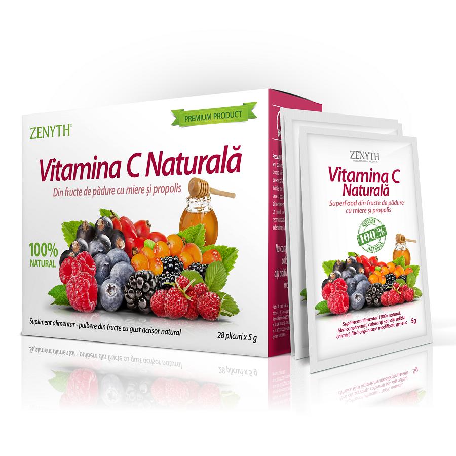 Vitamina C naturala cu fructe de padure, miere si propolis, 28 plicuri, Zenyth