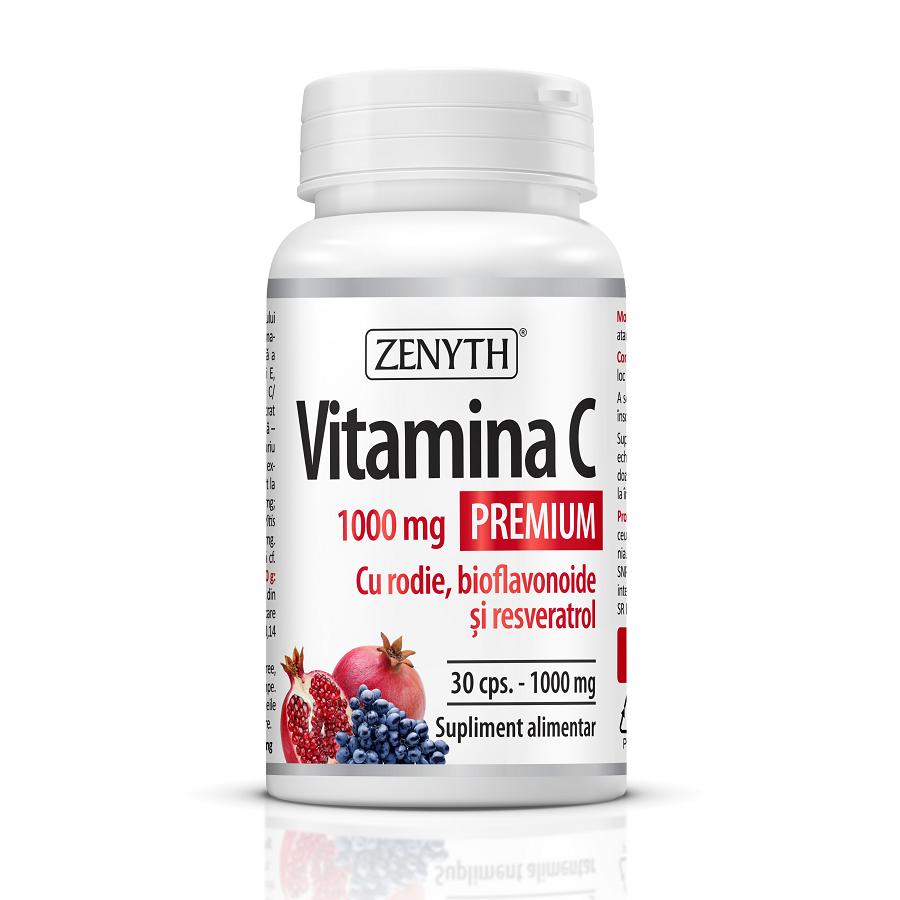 Vitamina C Premium cu rodie, bioflavonoide și resveratrol 1000 mg, 30 capsule, Zenyth
