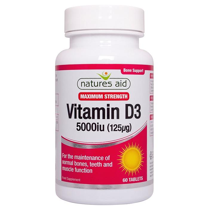 Vitamina D3 5000UI, 60 tablete, Natures Aid
