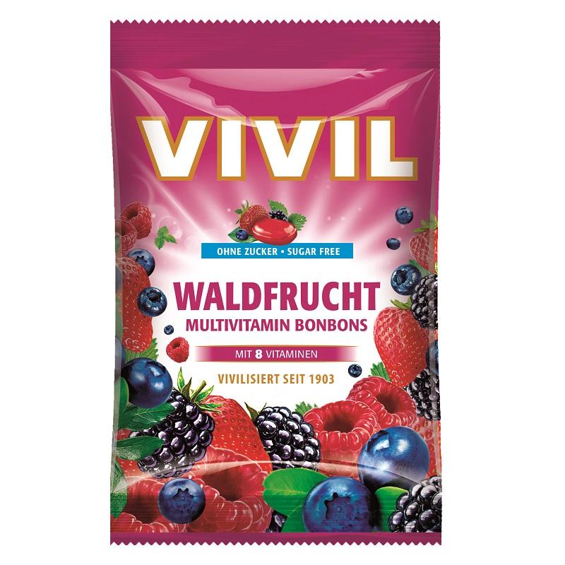 Bomboane fără zahăr cu fructe de pădure și multivitamine, 60 g, Vivil