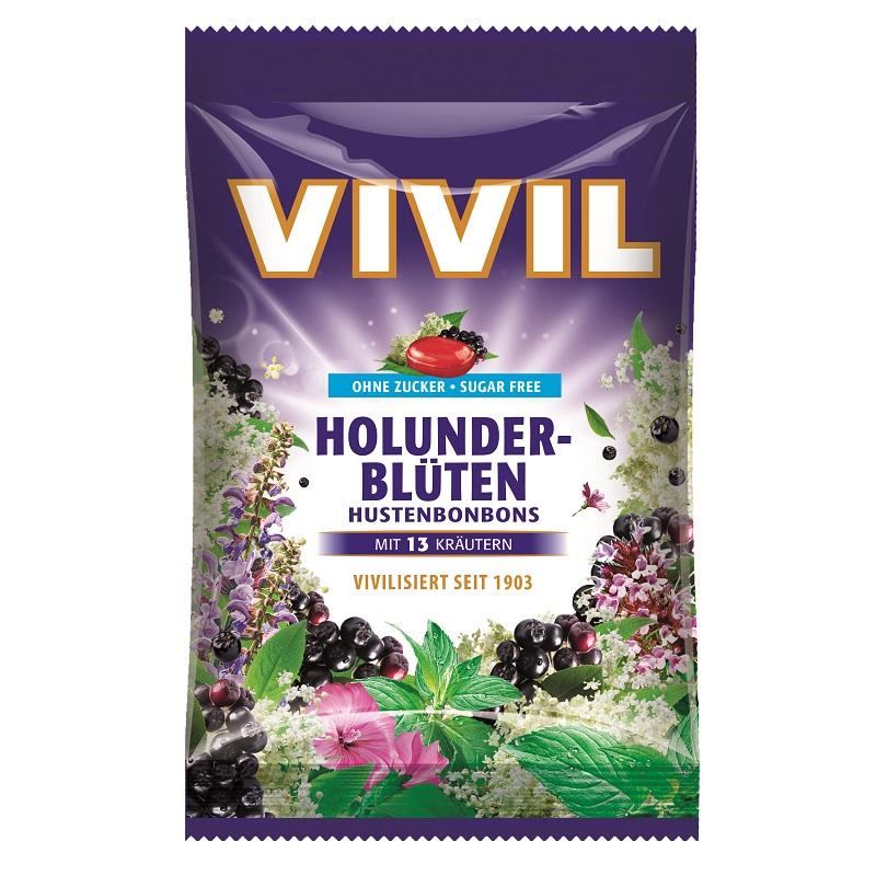Bomboane fără zahăr cu soc și multivitamine, 60 g, Vivil