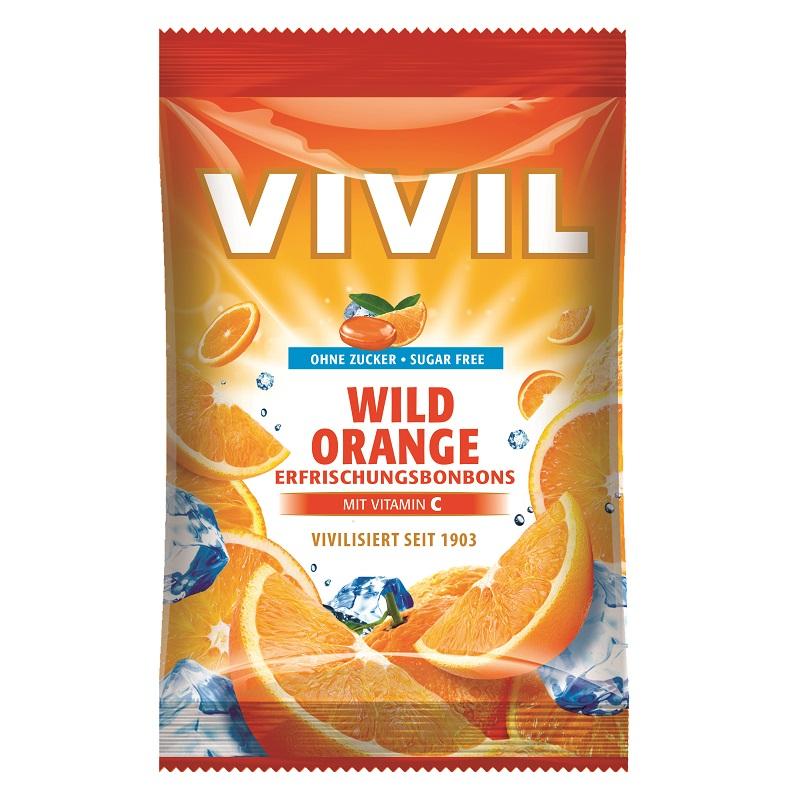 Bomboane fără zahăr cu portocală sălbatică cu vitamina C, 80 g, Vivil