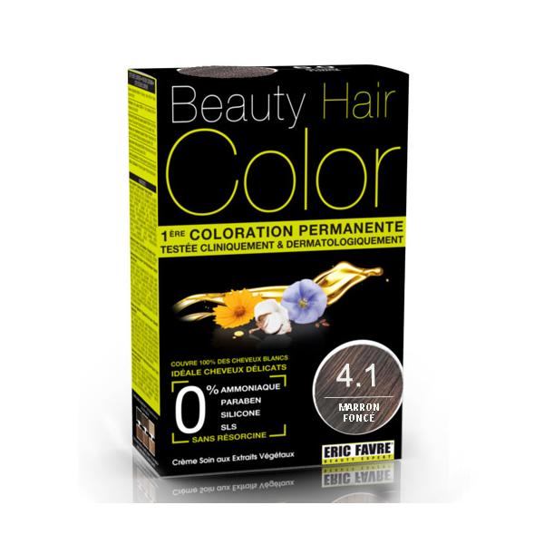 Vopsea de par cu extracte vegetale si bumbac Castaniu Inchis, Nuanta 4.1, 160 ml, Beauty Hair Color