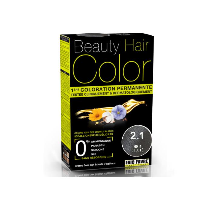 Vopsea de par cu extracte vegetale si bumbac Negru Albastrui, Nuanta 2.1, 160 ml, Beauty Hair Color