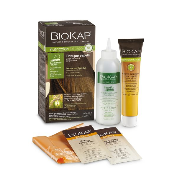 Vopsea pentru păr Nutricolor Delicato Rapid, Nuanţa Natural Medium Blond 7.0, 135 ml, Biokap