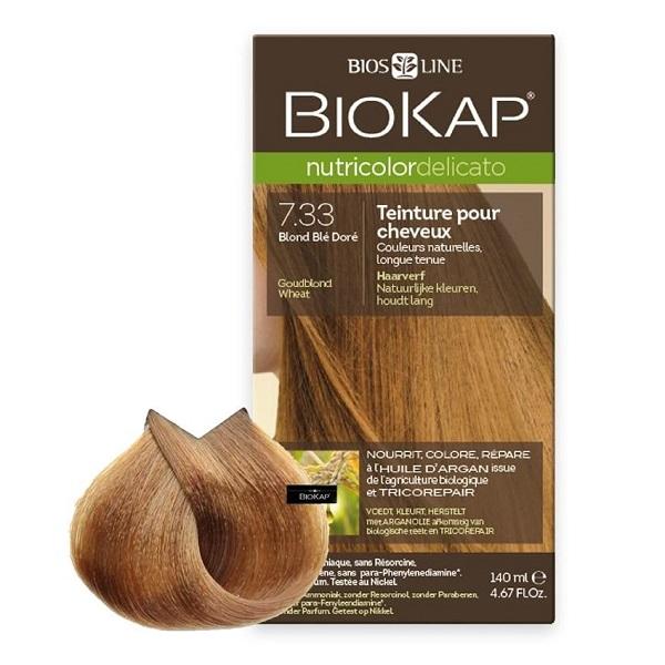 Vopsea permanentă pentru păr Nutricolor Delicato, Nunaţa Golden Blond Wheat 7.33, 140 ml, Biokap