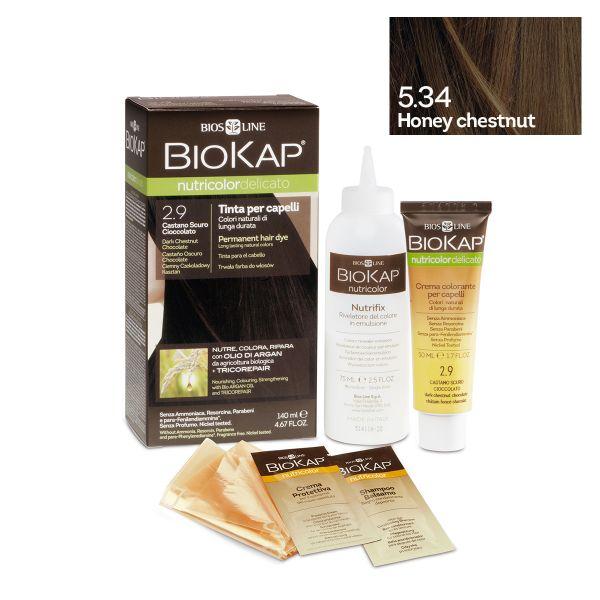 Vopsea permanentă pentru păr Nutricolor Delicato, Nunaţa Honey Chestnut 5.34, 140 ml, Biokap